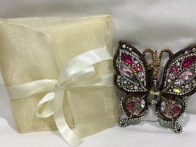"""BEAUTIFUL BE-JEWELED BUTTERFLY CLOTHES PIN/BROACH IN SHEER POUCH (3.5"""" X 3.25"""") - Clothespin Butterfly"""