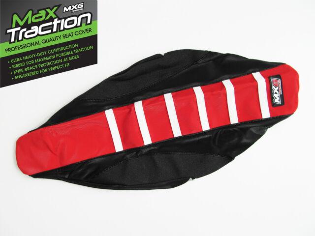 HONDA CRF250 CRF250R 14-17 RIBBED SEAT COVER BLACK + RED + WHITE STRIPES RIBS