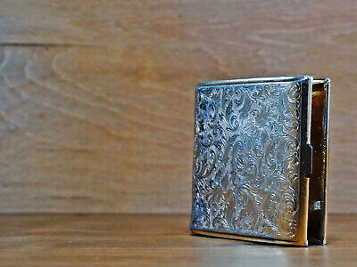 Vintage Cigarette Case - Gold Color Aluminum - Trinket Storage Flip Box - 1980s