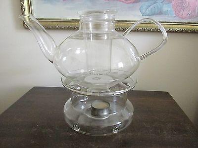 Schott Mainz Jena Glass Germany Tea Pot With Warmer