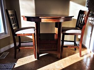 Round bar height table with chairs