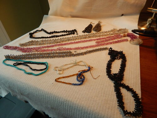 VTG 20S VICTORIAN MICRO SEED BEAD NECKLACE FLAPPER MOURNING CZECH GLASS U FIX