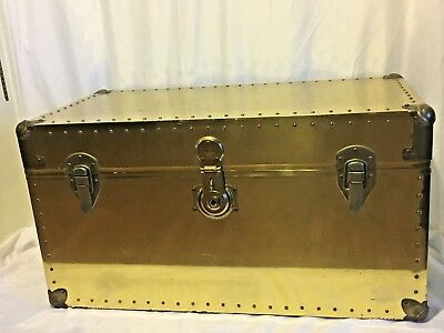 Vintage Brass Finish Steamer Trunk with T46 Long Lock Co.