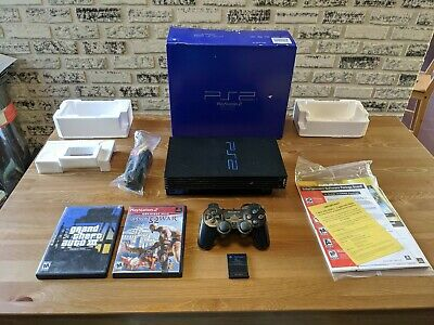Sony PlayStation 2 PS2 Console SCPH-39001 + Original Box System Fat Bundle Lot