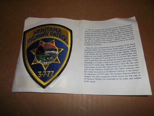 Vintage Montana Highway Patrol Police Uniform Shoulder Patch~MT~In Info Folder~