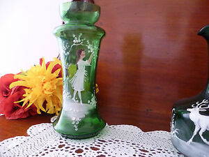 GREEN VASE  MARY GREGORY ? CIRCA  LATE 1800'S  ORIGINAL LATE VICTORIAN