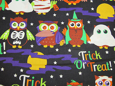 HALLOWEEN OWL TRICK OR TREATERS ON BLACK GHOST MUMMY BLACK 100% Cotton Fabric HY