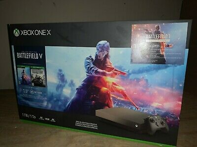 Microsoft Xbox One X 1TB Console-Gold Rush Special Edition Battlefield V Bundle