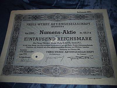 624 : historische Aktie , PHRIX Werke AG , Hamburg Oktober 1941 ,1000 Reichsmark