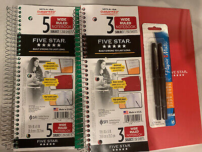 Five Star Notebook 5 Subject 200 Sheets 3 Subject Paper Mate Pen 2 Pack