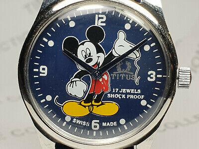 Vintage Titus Mickey Mouse Dial Mechanical Handwinding Mens Wrist Watch VG69