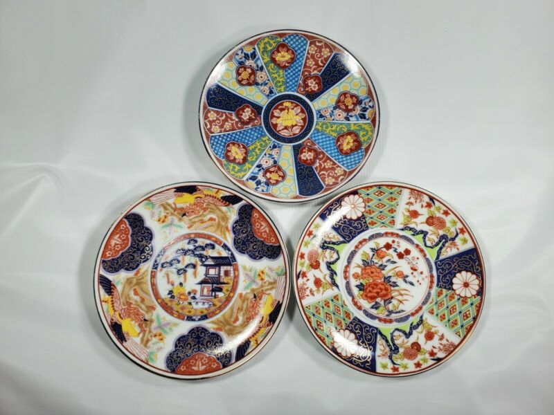 "Japanese Art Wall Plates Lot Of Three 6"" Display"