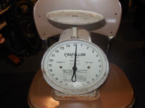 Vintage ANTIQUE Chatillon 25 Lb. Baby Scale RUSTIC ANTIQUE TABLE SCALE