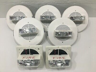 Wheelock Et90-24mcc Fire Alarm Ceiling Speakerstrobe. Used. Lot Of 7.