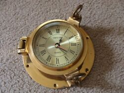 Vintage Ship's Time Nautical Brass Porthole Clock With Quartz  AS IS