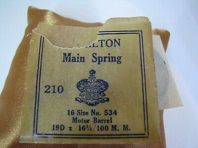 HAMILTON MAINSPRING NEW OLD STOCK 16 SIZE, NO. 534 FOR POCKET WATCHES