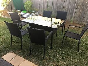 Glass table outdoor setting Eatons Hill Pine Rivers Area Preview