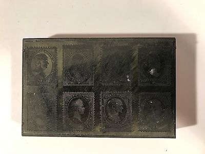 Antique 1870 Us Postage Stamp Die Copper Wood Printing Plate