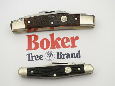 Vintage BOKER Pocket Knives Lot of Two Carbon Steel Congress & Jack Great EDC