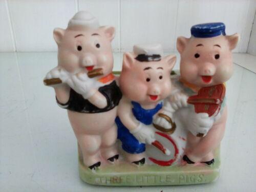 "Three Little Pigs Walt Disney 1930s Ceramic Toothbrush Holder Made in Japan 4"""