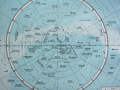 1895 LARGE VICTORIAN ASTRONOMY MAP CONSTELLATIONS NORTHERN & SOUTHERN HEMISPHERE