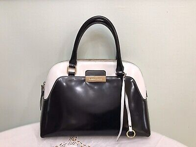 AB ASIA Bellucci Patent Leather White/black Tote Large Bag