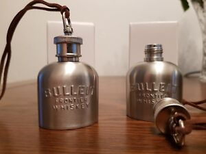 2  x Bulleit Bourbon Frontier Whiskey Mini hip  flasks new 01