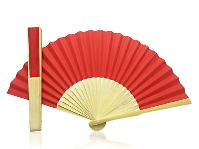 Red Paper Hand Held Bamboo and Wooden Fan - Wedding Party Prop