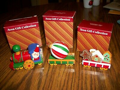 Vintage Avon Wooden Christmas Train Ornament Set of 3 with boxes Engine Cookies