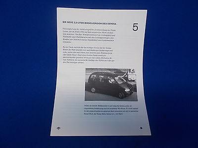 661) Pressemappe Presseinformation NISSA Serena Diesel 1992 1994