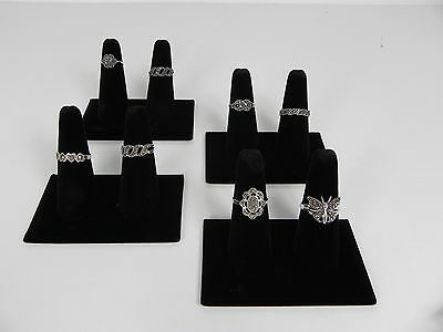 Four 2-finger Ring Display Black Velvet Jewelry Showcase Rings