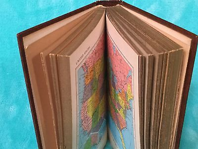 Vintage Copyright 1961 New Rand McNally World Atlas Leather Bound Gold Trim Page