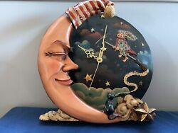 Unique Whimsical Moon Witch Cat Wall Clock
