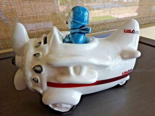 USAIR US Airways / Airlines ~ flying prop Airplane Aircraft Bank w Pilot ~ plane