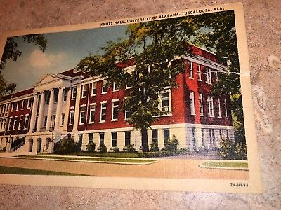 Knott Hall, University of Alabama Tuscalooosa AL Linen 1940's Postcard Linens Alabama University
