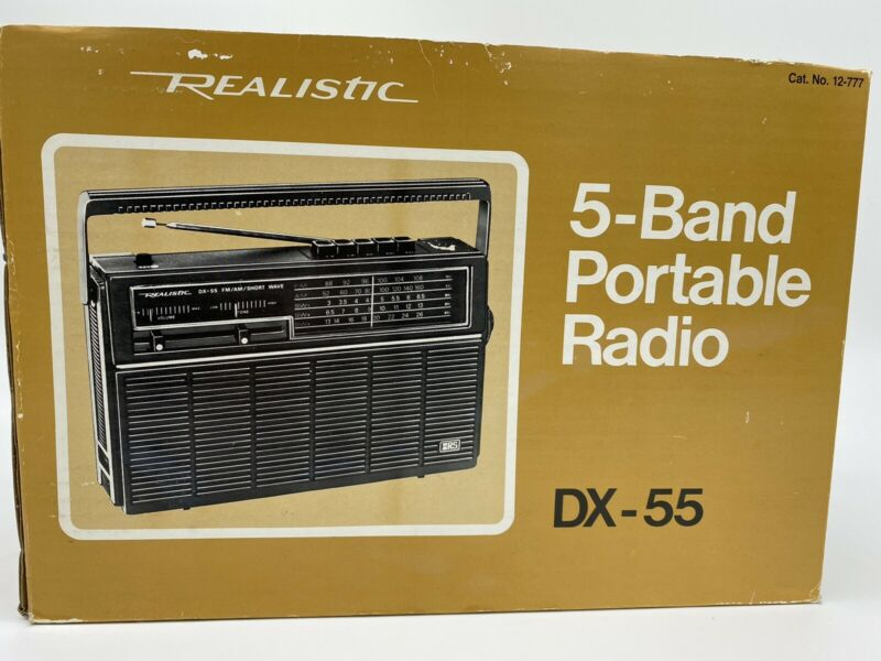 Radio Shack Realistic 5 Band Portable SW Radio DX-55 New, Old Stock, Open Box