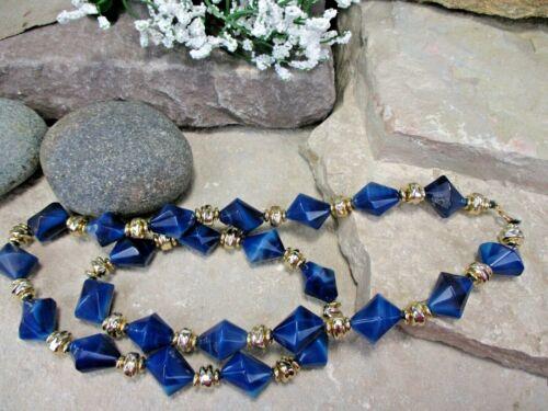 BLUE LUCITE Goldtone Bead Vintage Estate NECKLACE