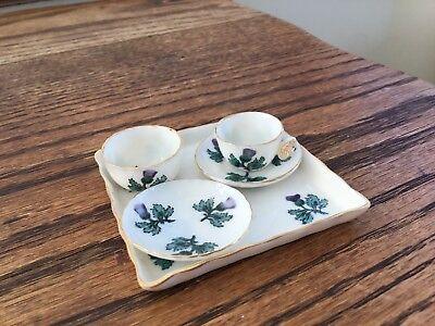 RARE W H Goss Miniature China Pt. Tea Set Thistle Design - Butterfly Handled Cup