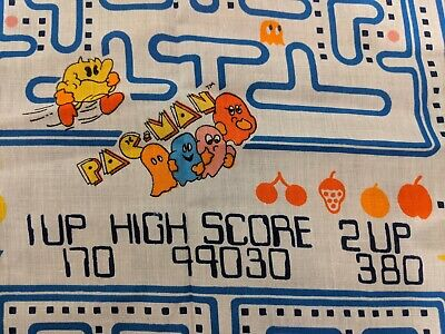 """Pac-Man Vintage Fabric 1980 Cotton Fabric with colorful design - 44"""" x 37.5"""""""