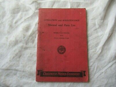 Continental Py-112 Engine Operators Manual And Parts Catalog