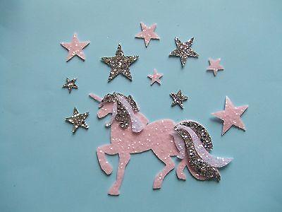 A Machine Die Cut Unicorn in Chunky Glitter Fabric with 10 Stars