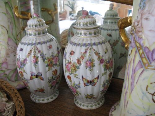 """Antique Pair Rare Paris Porcelain Urn Vases Bourdoir Bloch Butterfly Insect 10"""""""