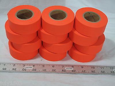 "12 rolls Fluorescent Orange Flagging Tape 1-3/16"" x 150' Trail Marking Free Ship"