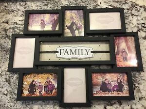 Beautiful Black Plastic Family Photo Frame NEW
