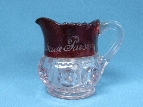 Antique 1893 Worlds Fair Chicago Ruby Red Flash Glass Creamer Pitcher