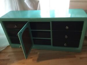 Entertainment cabinet navy & teal