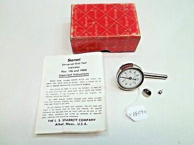 Starrett No. 196 Machinist Jeweled .001 .200 Range Dial Indicator Usa