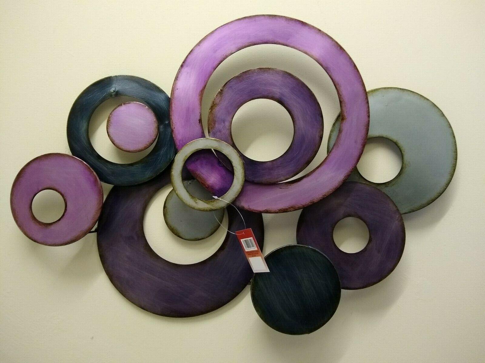 Imagen de Arte para Decoración de Pared Metal Contemporáneo-púrpura y Plata Discos Abstracto