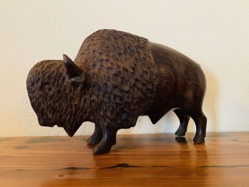 """Large Ironwood Handcarved Buffalo Bison 10"""" Wood Carving Man Cave"""