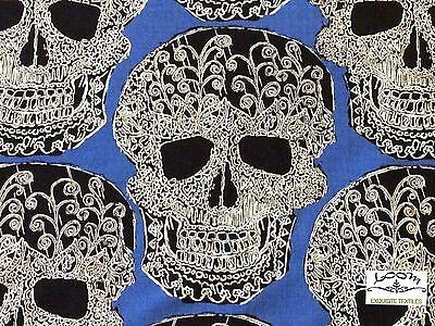 MM93 Skulls Halloween Scary Terror Dead Tattoo Drawing Quilting Cotton - Halloween Drawing Skulls